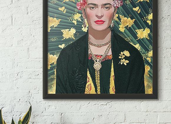 Bold Frida Kahlo Green Print