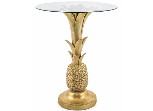 Quirky Glass Topped Pineapple Table In Gold