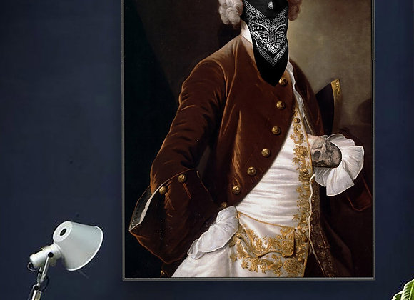 Funky Portrait Masked Male Print