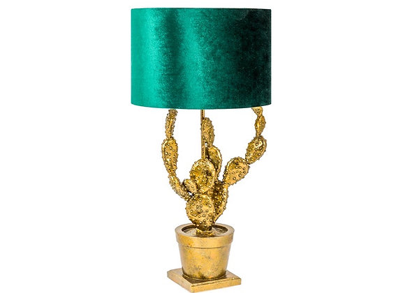 Funky Gold Cactus Table Lamp With Green Velvet Shade