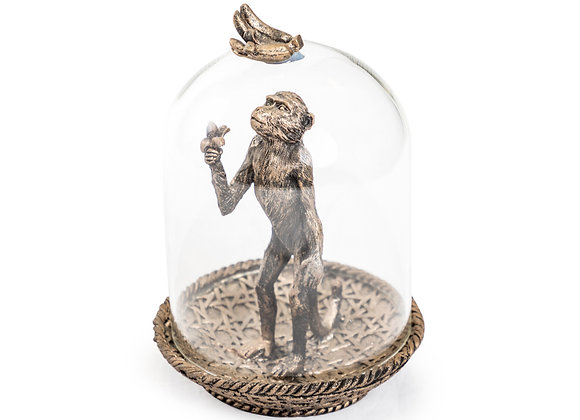Quirky Bronze Effect Monkey In Glass Dome