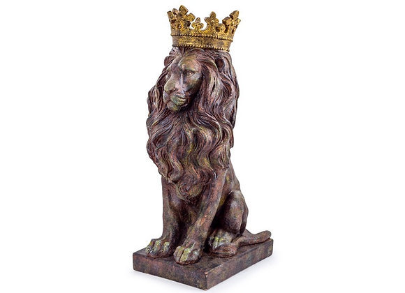 Quirky Small Bronze Effect Sitting Lion