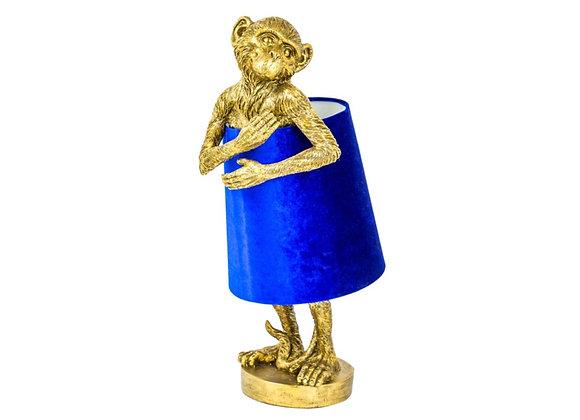 Gold Bashful Monkey Table Lamp With Blue Velvet Shade
