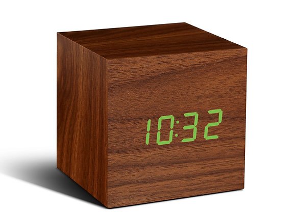 Walnut Cube Clock (Green LED)