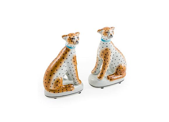 Pair of Ceramic Sitting Leopard Ornaments
