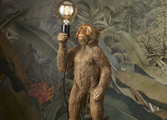 Quirky Gold Standing Monkey Lamp