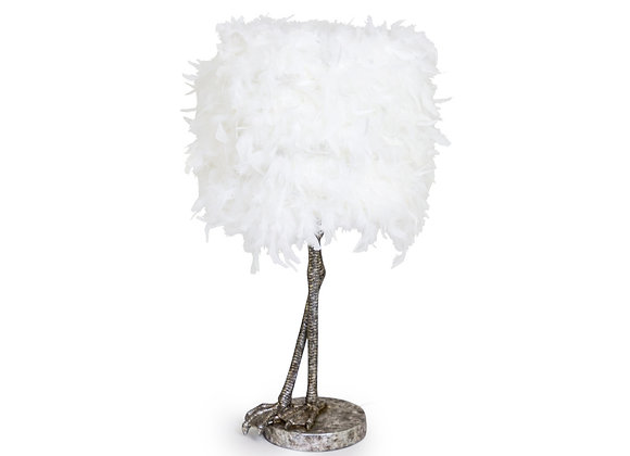 Quirky Bird Leg Lamp With White Feather Shade