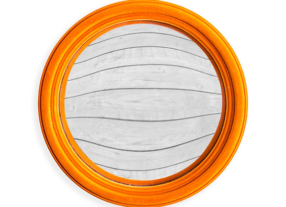 Quirky Flocked Bright Orange Thin Framed Medium Convex Mirror