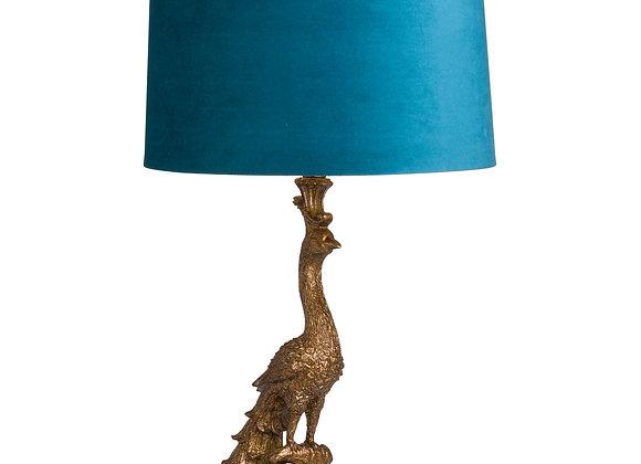Funky Peacock Lamp With Blue Velvet Shade