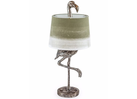Stunning Silver Flamingo Lamp With Two Tone Shade