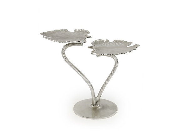 Nickel Finish Double Ginkgo Leaf Side Table