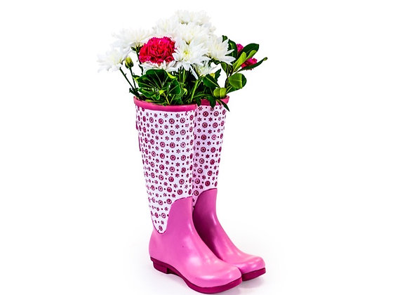 Funky Pink Ceramic Welly Boot Vase