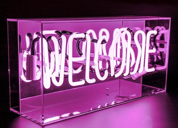Neon Acrylic Box Light (Welcome)
