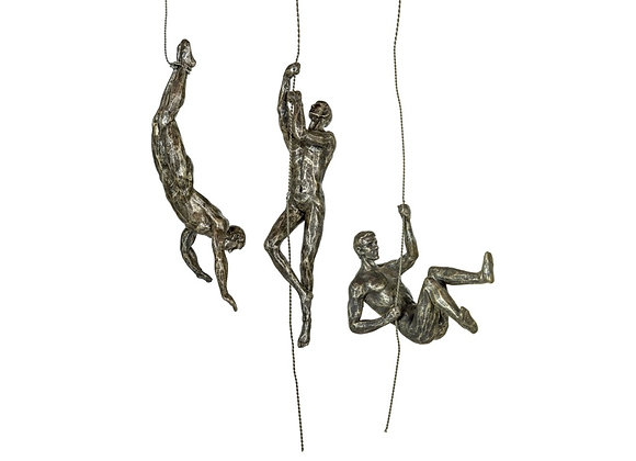 Set Of 3 Silver Effect Abseiling Men Wall Figures