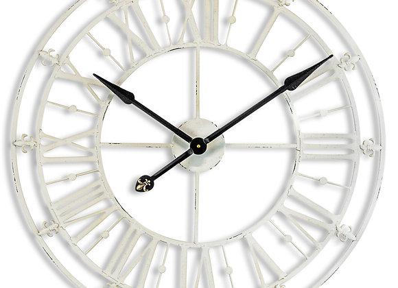 Medium Antiqued Cream Metal Wall Clock