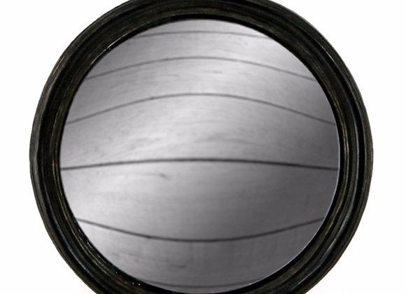 Medium Black Thin Framed Round Convex Mirror
