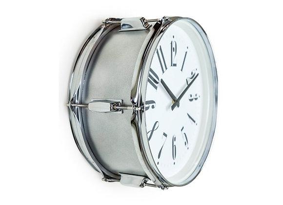 Silver Drum Wall Clock
