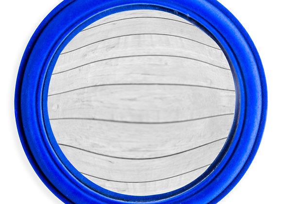 Funky Flocked Cobalt Blue Large Convex Mirror
