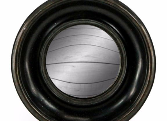 Small Black Deep Framed Round Convex Mirror