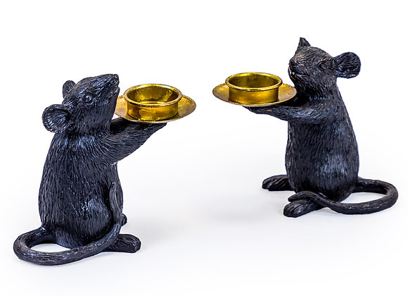 Pair of Black Mouse Candle Holder