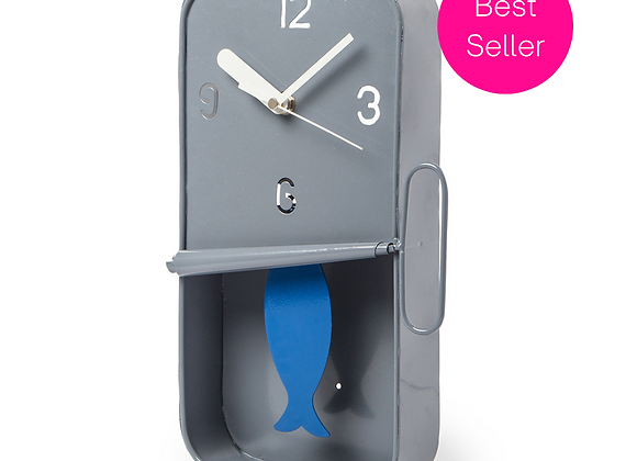 Sardine Tin Clock (Grey)