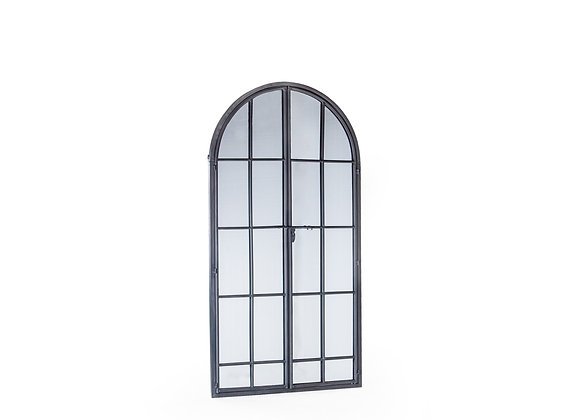 Large Antiqued Lead Grey Iron Arched Window Mirror