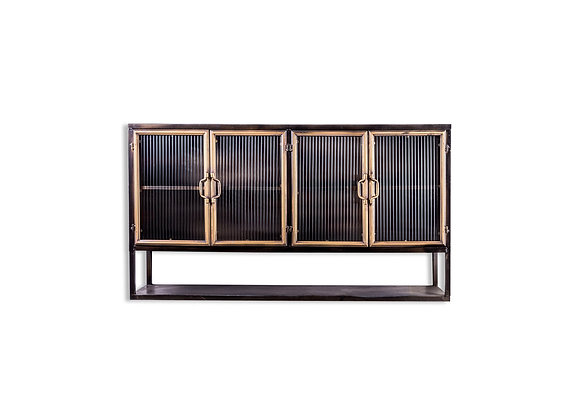 Black and Antique Gold Wide Metal Cabinet With Shelving