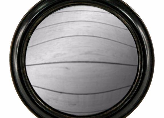 Large Black Framed Round Convex Mirror