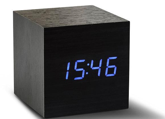 Black Cube Click Clock (Blue LED)