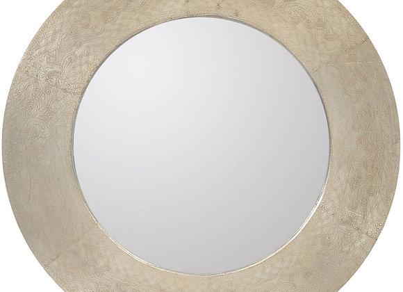 Nickel Wood & Iron Etched Round Mirror