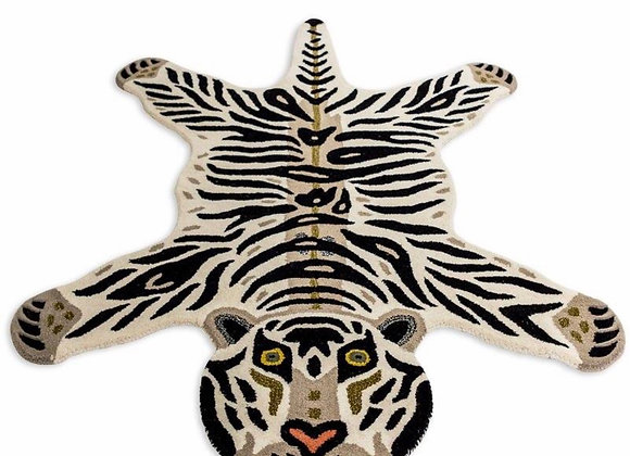 Quirky Tufted White Tiger Woollen Rug