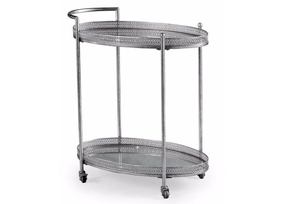 Metal Trolley With Mirrored Shelves (Silver)