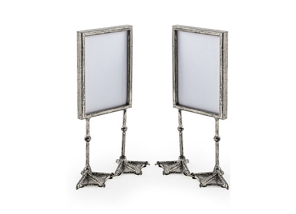 Pair of Funky Antiqued Silver Bird Feet Photo Frames
