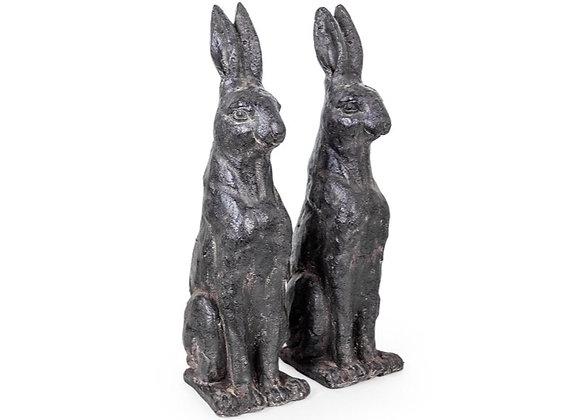 Large Pair Of Sitting Rustic Rabbits