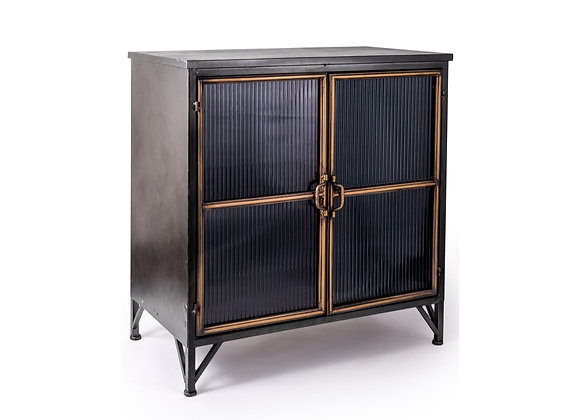 Black and Antique Gold Wide Metal Cabinet