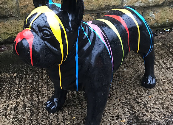 Larger Than Life Black French Bulldog With Paint Drips