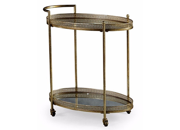 Metal Trolley With Mirrored Shelves (Gold)