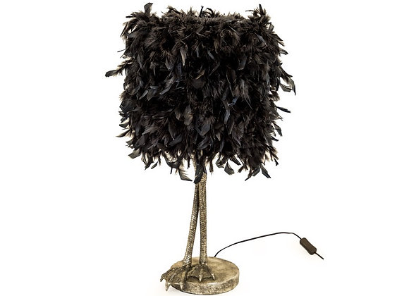 Silver Bird Leg Lamp With Black Feather Shade