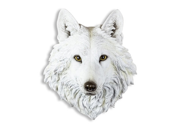Quirky, Realistic, White Wolf Wall Head