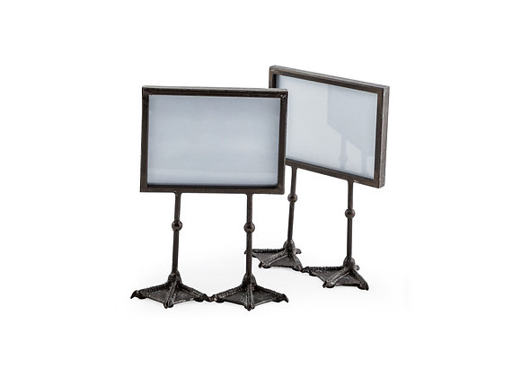 Pair of Funky Black Bird Feet Photo Frames