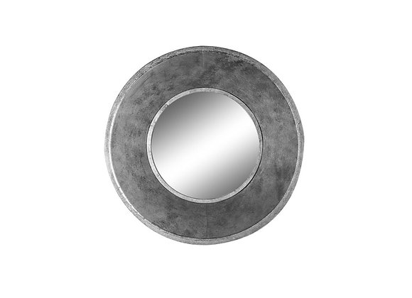 Deep Framed Round Metal Wall Mirror (Silver)
