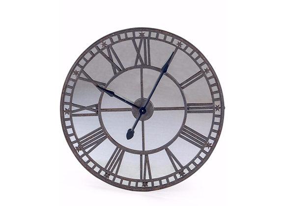 Large Industrial Metal Antiqued Wall Clock