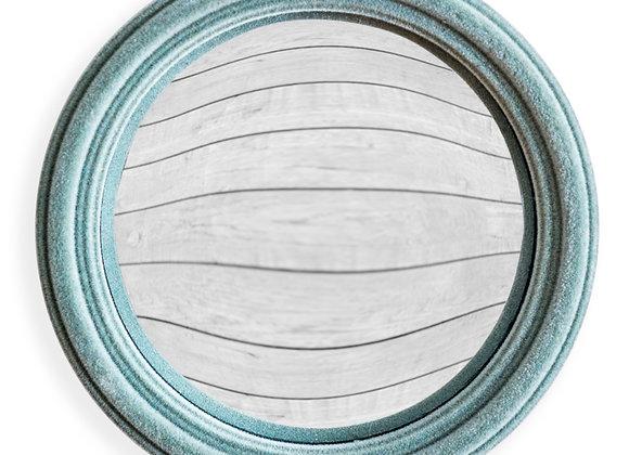 Funky Flocked Grey/Blue Thin Framed Small Convex Mirror