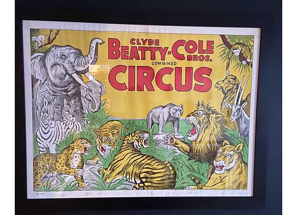Framed Original Beatty Cole Bros Circus Poster