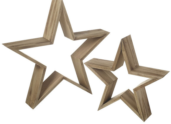 Rustic Pair of Wooden Stars Decoration