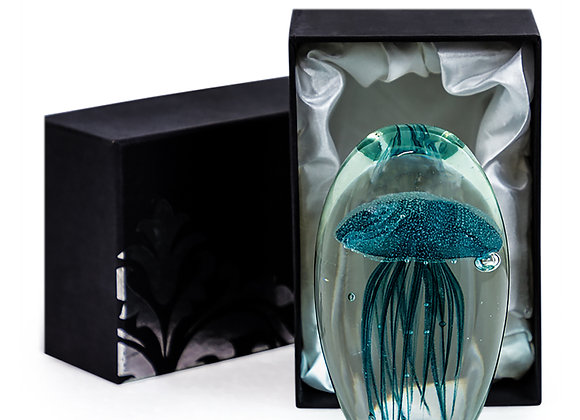 Stunning Blue Glass Jellyfish Paperweight Decoration