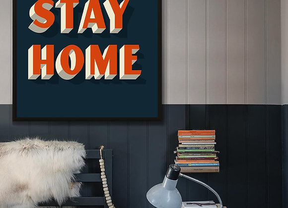 "Funky Blue ""Let's Stay Home"" Typography Print"