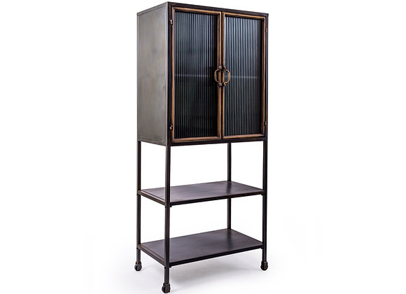 Black and Antique Gold Metal Cabinet With Shelving