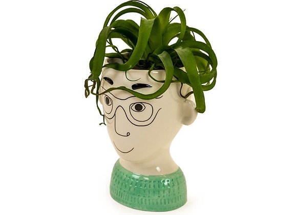 Quirky Man With Glasses Head Vase