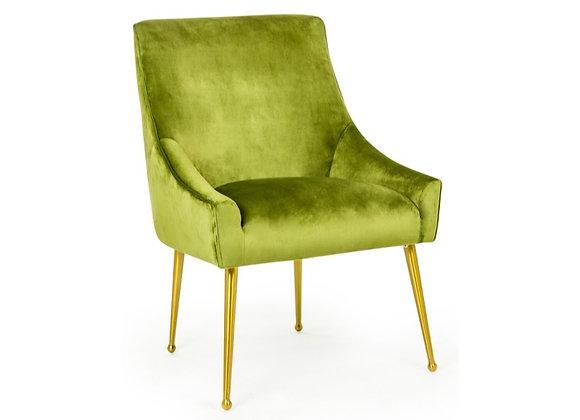 Beautiful Green Velvet Chair On Brass Legs